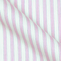 Superfine Italian Cotton broadcloth in fluted stripe on white