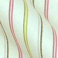 Pinpoint Oxford Cotton in Soft Tri-Color Stripes on White