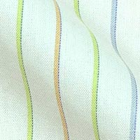 Pinpoint Oxford Cotton Fabric in Pastel Tri-Color Stripes on White