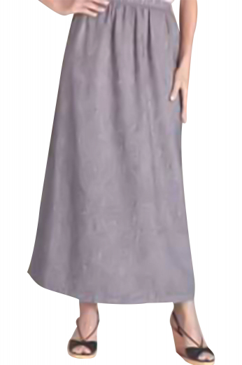 This A-line gray skirt features an elastic waistband that offers a clean look to the entire attire. Made of wool, this tailor made skirt is stretchable and a trendy casual outfit for all seasons.