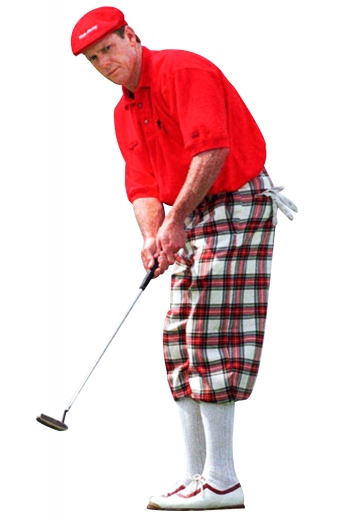 Handmade baggy fit men's golf pants with a high waisted design and reverse double pleats, front slash pockets, and elastic cuffs.