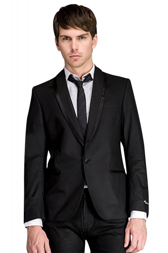 A slim cut single breasted treasure. This one button tuxedo jacket has shawl collar lapels adorned with satin trimmings, a medium gorge double piped lower pockets and an upper welt pocket. Track stitched darts, hand molded shoulders, embroidered sleeve cuffs, and a curved bottom makes this tux jacket a gentleman must have.