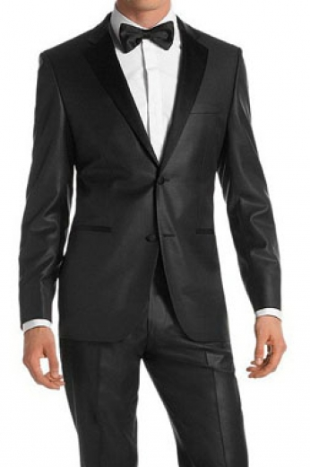 A slim cut James Bond styled tuxedo for classy elegance. This hand-tailored men's suit is made up of flat front suit pants with satin piping on the side seams, paired with a slim cut single breasted two button suit jacket.