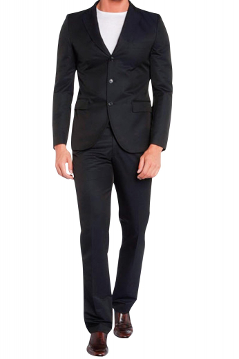 An ultra slim men's hand-tailored suit made up of a single breasted three button suit jacket with pressed notch lapels and very soft shoulder padding matched with a pair of high waisted flat front suit pants.