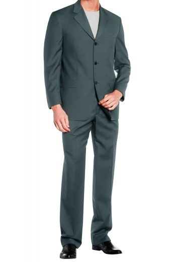 A three-button suit jacket with notch lapels, a boutonniere, and track stitched darts matched with an equally beautiful pair of high waisted suit pants.