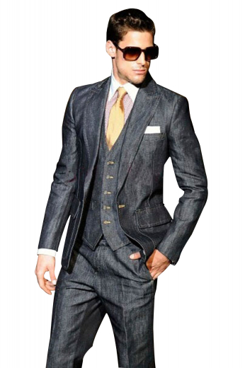A slim cut single breasted one button suit jacket with beautifully track stitched darts, a v-neck single breasted five button vest with welted lower pockets, and a pair of reverse pleat high waisted suit pants with hand-sewn cuff hems.