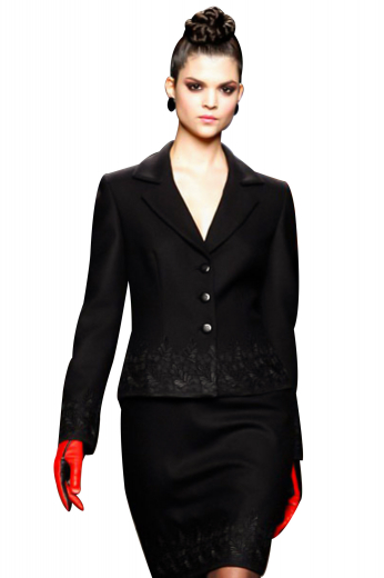 These skirt suits, trendy and comfortable, are carefully hand sewn for formal parties and office events. The jackets with embroidered squared bottoms and three front closure buttons look enchanting with pencil skirts that flaunt flat fronts, concealed back zip for closure and a center vent on the back.