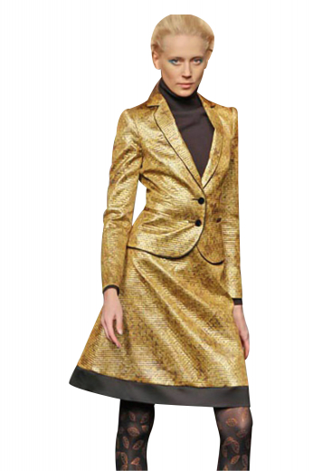 Stylish skirt suits with slim jackets and knee length suit skirts. Suit jackets with slim ruled notch lapels and two front buttons to close are comfortable office formals. Scintillating party wear A line suit skirts with a flat front and a concealed back zipper to close make perfect party stunners. Can be customized with crease free fabrics.
