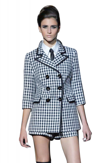Ultra slim figure flattering jackets with sexy stripes. Handmade double breasted party wears with six front buttons, three to close. High collar lapels and lower flapped pockets flash impressive piping work along the edges. Squared on the front, these formal jackets can be worn with ultra slim suit skirts and slim pants for black tie events.