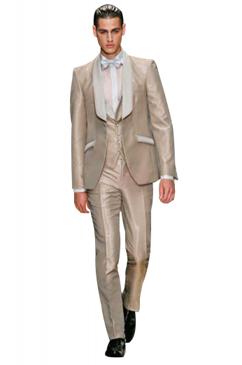 A classic tuxedo men's suit made up of a slim cut single breasted one button suit jacket with a tapered waist and embroidered sleeves, paired with elegant reverse pleat suit pants.