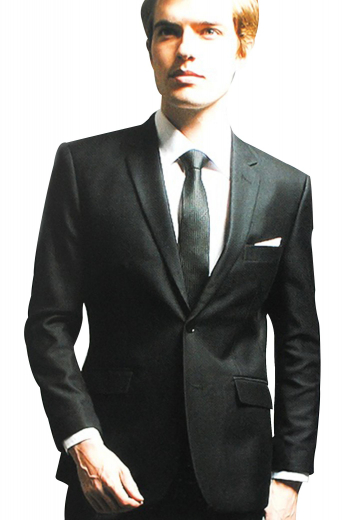 A hand-tailored single breasted two button suit jacket with pressed high notch lapels paired with flat front suit pants. This is a great tailored suit for weddings and formal events.