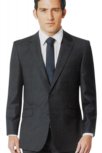 A pair of comfortable flat front suit pants completed by a banker style single breasted two button suit jacket with pressed notch lapels.