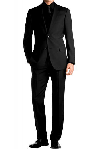 An elegantly slim cut men's suit made up of a bespoke single breasted two button suit jacket with pressed high notch lapels and a pair of flat front suit pants.