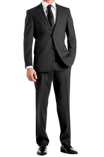 A slim fit hand-tailored virgin cashmere suit made up of a single breasted two button suit jacket with pressed high notch lapels and a pair of flat front suit pants.