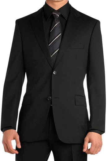 A custom tailored single breasted two button suit jacket with pressed notch lapels and a boutonniere, paired with slim cut reverse double pleat suit pants.