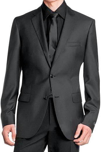 A comfortably cut men's custom tailored suit made up of a pair of elegant high waisted reverse double pleat suit pants, completed by a tailor-made men's single breasted two button suit jacket with notch lapels for the classy man.