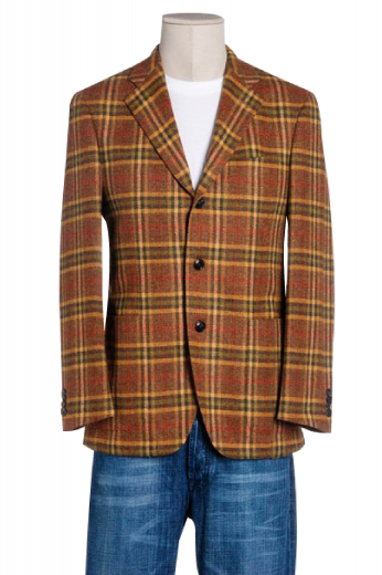 A tailor-made classic single breasted three button plaid jacket adorned with wide notch lapels featuring a boutonniere, an upper welt pocket and two lower patch pockets.