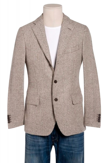 A bespoke casual medium gorge single breasted two button casual jacket cut for comfort with pressed high notch lapels, lower flap pockets, a tapered waist, and track stitched darts.