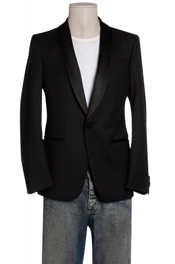 A single-breasted one button tuxedo jacket with a shawl collar with satin facings, double piped lower pockets, classy embroidered sleeves, and an elegant cut-away front.