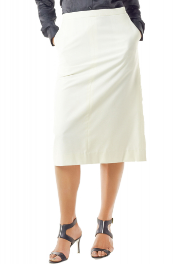 Stunning calf Length A line skirts with two slanted pockets. These figure flattering white skirts create uber sexy work look with suit shirts and custom vests. Sporting a back center vent aligned with a concealed back zipper, they are handmade with wool and or cashmere.