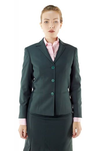 Fashionable dark green handmade skirt suits featuring stylish made to measure jackets with stunning double piped lower pockets, notch lapel collars and three buttons on the front to close, and sexy tailored pencil skirts with concealed back zippers, flat fronts and waistband with belt loops. You can order these custom made skirt suits in wrinkle proof wool and or fabric.