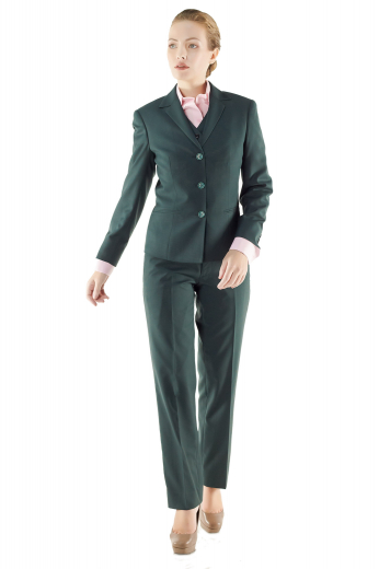 These dark green formal pant suits and vests are hand sewn with wool and or cashmere. Impressive slim cut V neck vests display five front buttons to close, angled V cut bottoms and two flapped lower pockets. Flat front custom pants incorporate stylish slash pockets on the front and zipper fly with buttoned waistband for closure. Formal jackets unveil impressive doubly piped lower pockets, four buttons on cuffs sleeves and three front buttons.