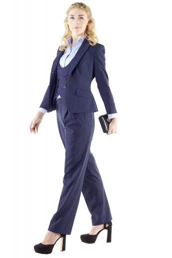 Stunning navy blue pant suits putting to view figure defining U-neck vests with adjustable back buckles and shawl collar, snug fit pants with reverse double pleats and short length jackets with hand molded shoulders. Double breasted vests incorporate four buttons, two to close. Custom pants flaunt front slash pockets and wide waistbands with buttons, accompanied by zipper fly. Slim jackets boast two front buttons and impressive lower pockets with flaps.