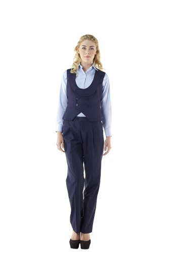 These double breasted navy blue vests sport curved U neck with shawl collar and six front buttons, three to close. These handmade body hugging vests come with adjustable back buckles. With wide V cut bottoms and two welted lower pockets, these stellar formal vests look breathtakingly gorgeous with matching custom pants and contrast custom shirts.