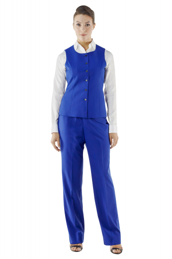 Stylish round neck vests with six front closure buttons. These handmade royal blue vests look ravishing with matching suit pants and contrast custom shirts.