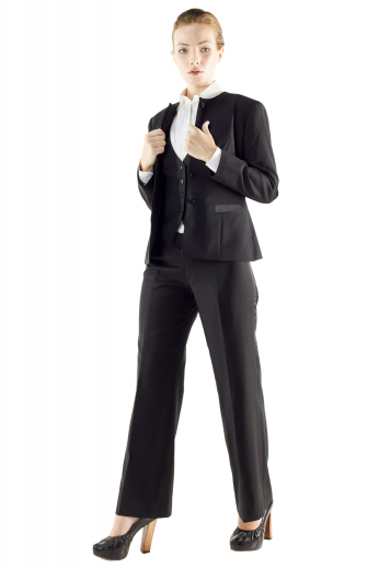 Stylish three piece suits flashing slim jackets with rounded collars, snug fit pants and V neck vests. Jackets incorporate lower welt pockets, two front closure buttons and four buttons on the sleeves cuffs. Flat front pants display zipper fly for closure and beautifully hand sewn hems and cuffs. Stylish vests with Angled V cut bottoms feature four front closure buttons. These bespoke black pant suits are perfect party wears for formal events.