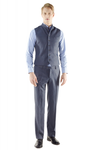 15280_VestsCut : Slim cutStyle : Single breastedFront : 7 ButtonGorge : Ultra High Gorge