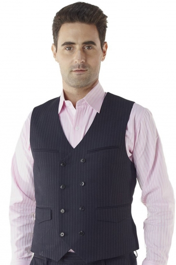 This elegantly straightforward waistcoat adds an understated touch to any well-considered seasonal look. Cut to a slim fit, this double breasted 8-button piece features a rear adjustment strap, upper double piped pockets, and lower flapped pockets.