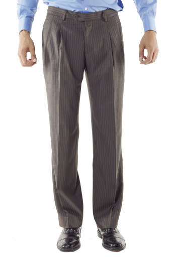A wool and cashmere pair of 1/4 inch pinstripe made to measure pants in a loose fit for your comfort, these single standard reverse pleat pants come in a great dark oxford grey color that is quite flattering.