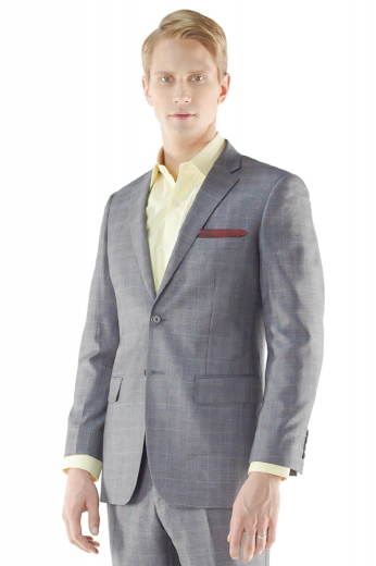 An Oxford grey wrinkle-resistant wool suit jacket with a detailed Prince of Wales check design. This suit jacket is a single breasted two button men's jacket with straight-edged notch lapels.