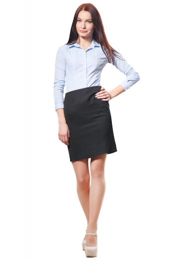 A line formal skirts with concealed back zipper closure and flat fronts. Tailor made with wool and or cashmere, these bespoke black skirts are regular office formals that can also be ordered wrinkle free.