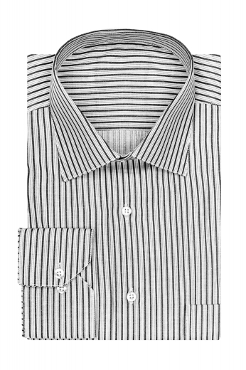 Mens long sleeve cotton shirt, grey with black stripe, one pocket, cut away barrel cuff, semi spread collar and french fly.