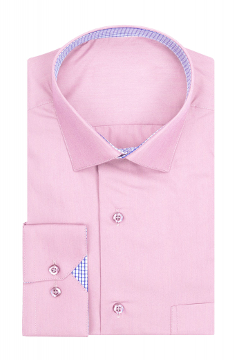 A made to measure cotton broadcloth dress shirt with a comfortable cut made for you. This semi-spread collar shirt has a plain front and plain back, with a pocket on the left.