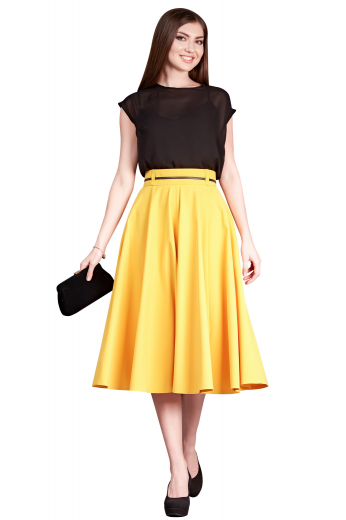 Handmade with silk, these calf length feminine skirts are semi-formal party wears. These mustard yellow flared skirts display concealed zipper at front left and extended waistband with belt loops for proper closure.