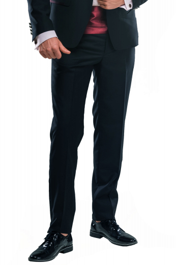 A pair of custom made slim cut flat front formal pants made elegantly by skilled tailors, these midnight blue pants made out of a lightweight wool and cashmere blend are perfect for formal occasions.