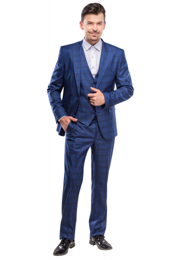 An exquisitely handmade three piece suit made up of a single breasted five button v-neck vest, a pair of matching flat front pants with slash pockets, all completed by a comfortably tailored single breasted two button suit jacket.