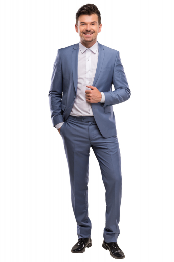 A tailor handmade slim fit suit composed of a single breasted two button suit jacket with rolled notch lapels elegantly adorned with a boutonniere, paired with stunning flat front pants, perfect for the office.