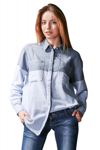 This womens custom made cotton shirt is a stunning casual that you can wear with womens handmade denim jeans and womens tailor made slim fit summer shorts. This womens custom made casual shirt features an Ainsley collar with 3 inch wide collar points and 1 1/4 inch standard collar height. This womens bespoke full length casual shirt also features rounded barrel cuffs, a hidden button front closure with matching buttons, 2 standard front pockets on both the sides, a dart to the hem front pattern, and a plain back.