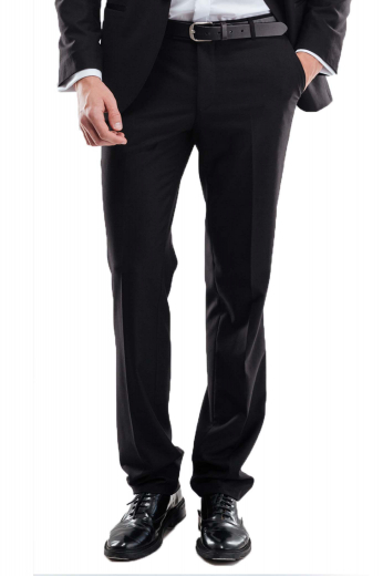 These sophisticated mens tailor made black dress pants in cashmere wool are the trendiest options for men who like comfort as much as style. These mens made to order black dress pants have a flat front, a zipper fly, and 2 front slash pockets. These mens bespoke slim fit black dress slacks also feature 2 back pockets, a 2 point button and hook closure, and elegantly hand sewn cuff hems. You can buy these mens custom made cashmere wool black dress pants at My custom Tailor at rates that you can easily afford.