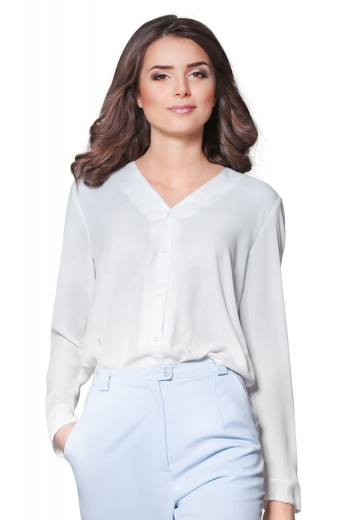 This womens handmade white cotton blouse is a perfect formal for meetings and interviews. This daily wear womens tailor made white formal shirt has a V neck collar and a plain front and back. You can buy this womens bespoke white cotton dress shirt at My Custom Tailor at affordable rates to upgrade your wardrobe of premium quality bespoke formals.