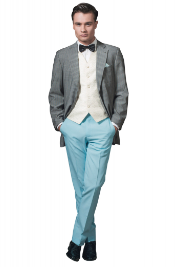 Flaunt a neatly poised gentleman look at work with these mens tailor made cadet blue cashmere wool dress pants from the eye-catching collection of handmade garments at My Custom Tailor. Available at super affordable rates, these mens handmade cadet blue dress slacks have a comfortable extended waistband with a hook, a zipper fly, hand sewn cuff hems, 2 slash front pockets, and 2 back pockets. You can wear these mens tailor made wool dress pants with mens bespoke slim fit shirts to complete your corporate look.