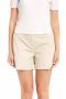 Light cream shorts handmade with wool flashing stylish turned up cuffs. Close with zipper fly, aided by buttons on the waistband for more secure front closure. They are wrinkle proof and look stunning with casual custom off shoulder tops.