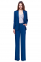 This womens custom made royal blue wool pant suit features a womens handmade jacket with 1 front close button and custom made dress pants with a flat front. The womens tailor made jacket has 4 inch wide lapels and 2 lower pockets with flaps. The mens made to order loose fit suit pants have 2 front slash pockets, a 2 point button and hook closure, a zipper fly, and hand sewn cuff hems. You can buy this womens tailor made royal blue pant suit at My Custom Tailor at super affordable rates.