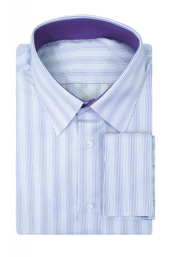 This mens handmade classic white Egyptian cotton business shirt with purple stripes has a stunning Ainsley collar with 3 inch wide collar points and 1 1/2 inch collar height. This mens tailor made slim fit striped dress shirt also has 2 squared edge french cuffs and a plain front that makes this mens bespoke striped white dress shirt a perfect daily wear for work. You can buy this mens made to order striped cotton shirt at My Custom Tailor to add a hint of sophistication to your entire work look.