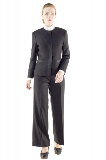 This super trendy womens handmade black tuxedo suit in wool - featuring a tailor made slim fit jacket and custom made baggy pants - gives a never-seen-before kind of formal look. The womens tailor made suit pants have a flat front, 2 on-seam front pockets, 2 beautifully hand sewn cuffs hems at the bottom, a zipper fly, and a 2 point button and hook closure. The womens bespoke tuxedo jacket is a show stealer with a princess dart front and back, 2 lower welt pockets, a rounded collar, and 5 front close buttons.