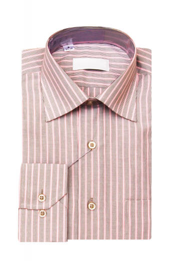 This absolutely classic mens tailor made striped salmon dress shirt in Supima cotton is perfect for interviews and daily office work. This mens handmade striped business dress shirt has a full spread collar with 3 inch collar points. With iconic features like perfectly rounded mitered barrel cuffs, a standard yoke, and standard tails, this mens handmade striped cotton dress shirt also has 1 standard upper pocket on the left. Buy this stunning mens tailor made striped cotton dress shirt at My Custom Tailor at low rates.
